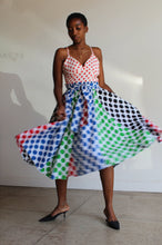 Load image into Gallery viewer, 1980s Multi-Color Polkadot Full Cotton Skirt with Sash