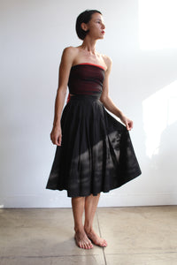 Classic 1950s Black Cotton Pleated Skirt