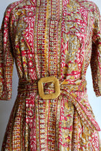Load image into Gallery viewer, 1950s Indian Cotton Block Print Pink Belted Fit & Flare Dress
