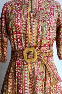1950s Indian Cotton Block Print Pink Belted Fit & Flare Dress