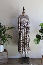 Load image into Gallery viewer, 1970s Paisley Print Smocked White Cotton Maxi Dress