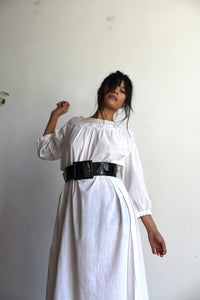 Antique White Cotton Tent Dress with Crochet Lace Neckline