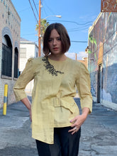 Load image into Gallery viewer, 90s Buttercup Yellow Linen Blouse with Black Floral Crochet Appliqués with Self Belt