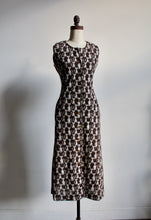 Load image into Gallery viewer, 1970s Brown Knit Cat Print Vest Dress