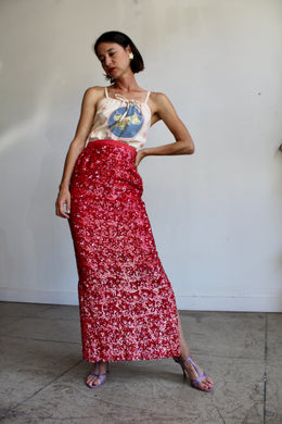 1960s Red Sequin Stars Silk Maxi Skirt with Side Slits
