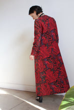 Load image into Gallery viewer, 1980s does 60s Red Tapestry Floor Length Coat
