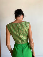 Load image into Gallery viewer, 1960s Kelly Green Wool + Gold Brocade Cocktail Dress