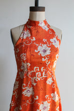 Load image into Gallery viewer, 1970s Orange Silk Chrysanthemums Print Empire Waist Halter Mini Dress