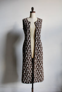 1970s Brown Knit Cat Print Vest Dress