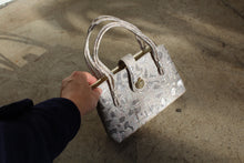 Load image into Gallery viewer, 1960s Silver Brocade Strappy Handbag with Apple Rhinestone Snap Closure