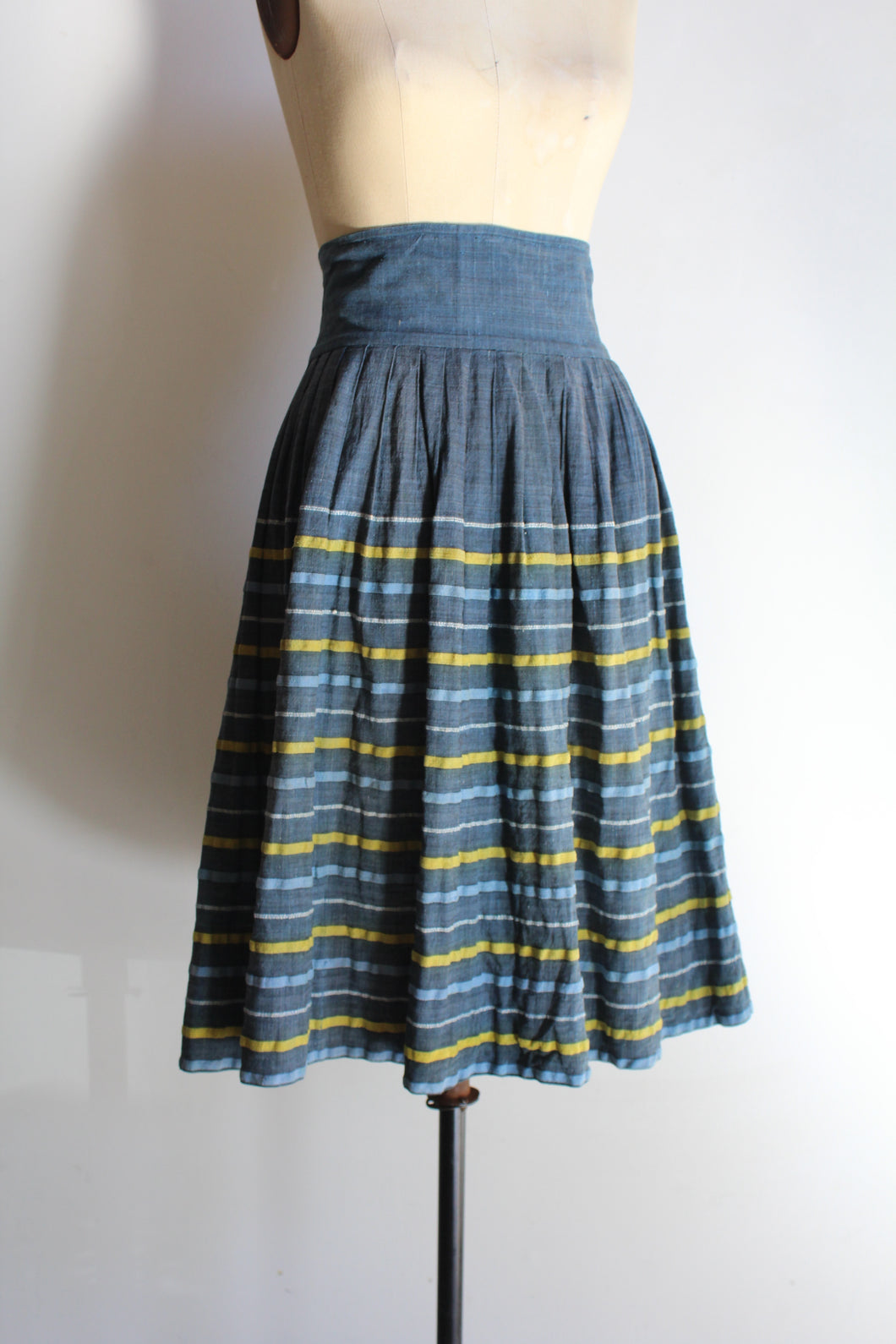 1950s Teal Blue Yellow Striped High Waist Cotton Skirt