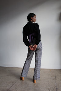 1970s Wool Blend Houndstooth High-waist Trousers