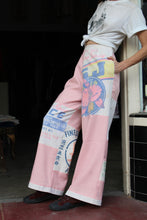 Load image into Gallery viewer, Extra Fancy Pink Patchwork Mixed Flour + Rice Sack Pants