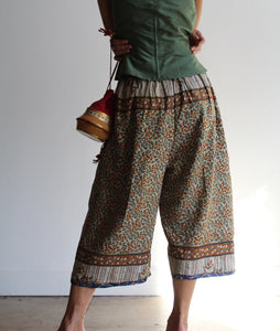 Vintage Reversible Indian Silk Gaucho Shorts