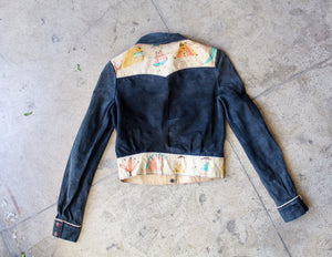 1950s-60s Pictoral Buckskin Leather Cropped Western Jacket