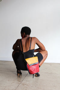 1980s Colorblock Leather Crossbody Bucket Bag