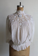 Load image into Gallery viewer, Victorian White Lace Crochet High Collar Blouse