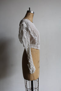 Edwardian White Gauze Lace Cropped Blouse