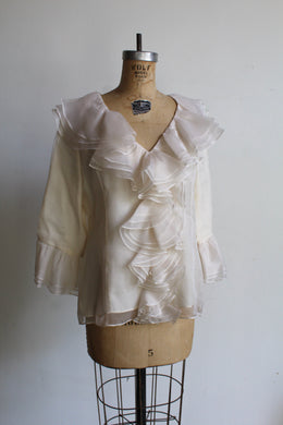 90s Ivory Silk Ruffle Collar Blouse with Ruffle Sleeves