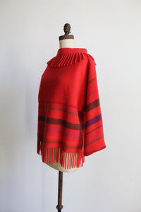 1960s Red Coral Wool Striped Turtleneck Fringe S