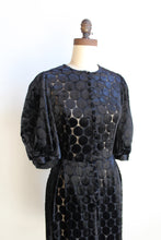 Load image into Gallery viewer, 1960s Polka Dot Velvet Burn Out Balloon Sleeve Button Up Midi Dress