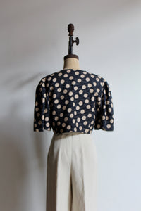 1980s Teal Blue Polka Dot Linen Cropped Button Up Blouse by Albert Nipon