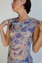 Load image into Gallery viewer, 1920s Sheer Ivory Silk Chiffon Forest Print Flapper Dress in Wild Blue + Orange