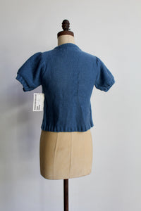 Deadstock 90s does 40s Teal Blue Short Sleeve Sweater