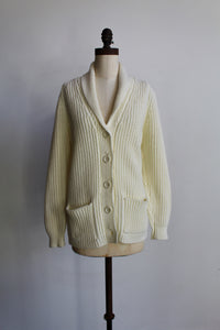 1970s Ivory Ribbed Knit Acrylic Shawl Collar Cardigan Sweater with Pockets