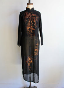 Vintage Black Sheer Ao Dai Tunic Dress with Glittery Copper Floral Design