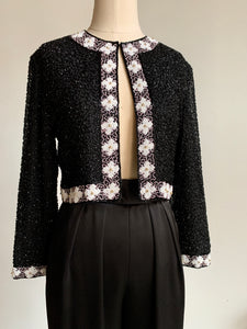 80s Black Beaded Jacket