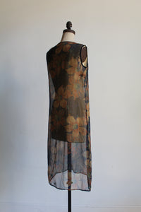 1920s Navy Blue Silk Chiffon Floral Print Dress