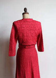 1930s Fuschia Red Silk Ribbon Knit Belted Wiggle Dress