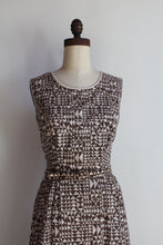 Load image into Gallery viewer, 1940s Cotton Brown Hued Triangle Print Dress + Bolero Jacket + Belt
