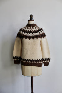1960s Hand Knit Icelandic Ivory + Brown Wool Pullover Sweater