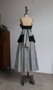 1970s B+W Striped Taffeta Gown with Peplum Skirt + Sash Belt