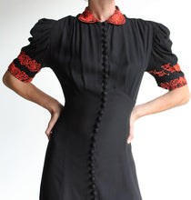 Load image into Gallery viewer, Early 1940s Black Silk Crepe Button Down Evening Gown with Coral Beading
