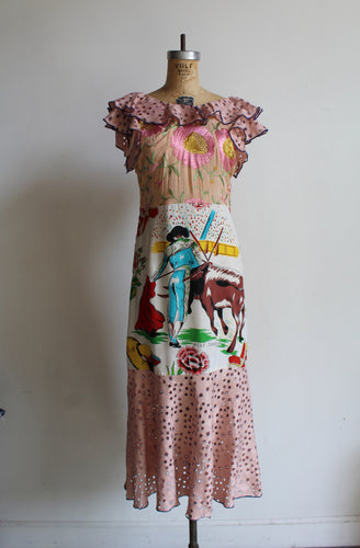 1930s-Style Old Mexico Mixed Fabric Scarf Dress by 3 Women (Pink)