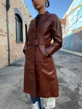 Load image into Gallery viewer, 1970s Chestnut Brown Leather Trench Coat
