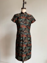 Load image into Gallery viewer, 1960s Black Cheongsam Dress with Village Scene and Multi-Colored Flowering Trees