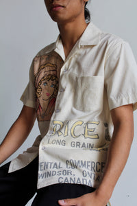 Unisex Vintage Dragon Rice Sack + 1920s Flapper Girl Embroidered Button Up by 3 Women