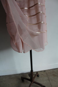 1950s Pink Mesh + Satin Ribbon Dress