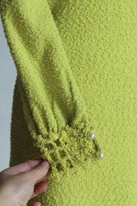1960s Lime Green Crochet Knit Dress