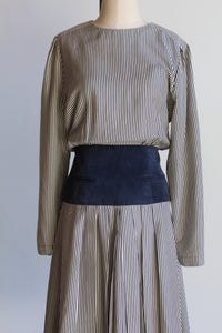 1980s Navy Blue Striped Silk Dress with Suede Pocketed Waistband