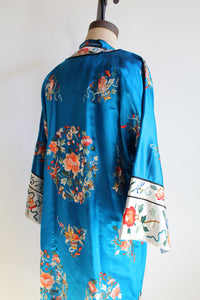 1950s Blue Silk Rayon Heavily Embroidered Chinese Robe Jacket