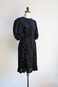 1960s Polka Dot Velvet Burn Out Balloon Sleeve Button Up Midi Dress