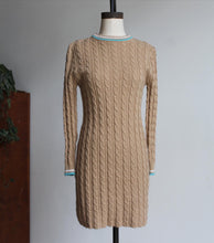 Load image into Gallery viewer, 1960s Tan Cable Knit Pullover Dress with Turquoise + White Trimmed Collar