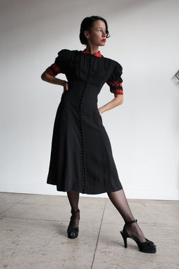 Early 1940s Black Silk Crepe Button Down Evening Gown with Coral Beading