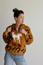 Load image into Gallery viewer, 1980s Western Brown Soft Wool Zip Up Hooded Sweater