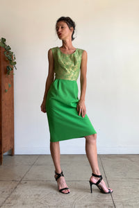 1960s Kelly Green Wool + Gold Brocade Cocktail Dress